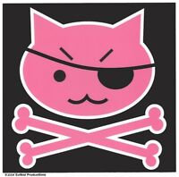 Cute PINK PIRATE KITTY Cat w/ Eye Patch & CROSSBONES RARE Sticker CARTOON Decal