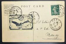 France 1912 Semi Official Airmail Stamp Label on Rare Flight Pic Ppc Nancy> Look