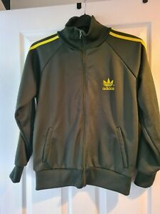 Mens Green And Yellow Adidas Zip Front Jacket Size M