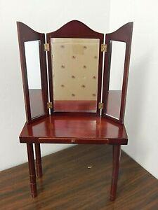 Ashton-Drake Doll Wood Victorian Style Vanity Table w/Tri-fold Mirror