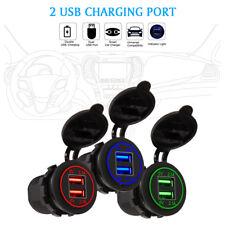 12V/24 Dual USB Port Car Cigarette Lighter Socket Plug LED Voltmeter Waterproof