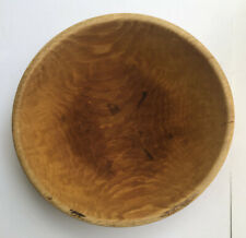 "Vintage WOODEN BOWL Primitive Dough Bowl Out of Round Wavy Grain 13""D"