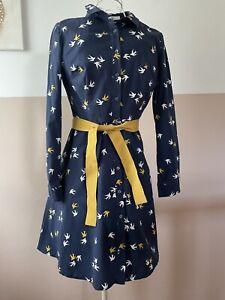 Kleid Von Boden Gr 36 Blau Gelb Weiss Maritim Fifties