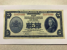 1943 Netherlands-Indies 5 Gulden Note VF++ #123