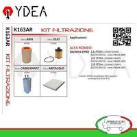 Kit Tagliando Filtri Alfa Romeo Giulietta 1.6 2.0 JTDm 03/10>09/15 - Ydea K163AR