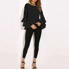 Women's Long Bell Flare Sleeve Loose Polka Dot Shirt Lady Casual Blouse Tops US