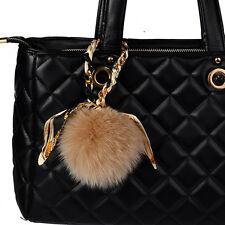 Khaki Real Fox Ball Fur Furry Pom Pom Key Chain Twilly Scarf  Bag Charm Pendant