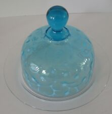 EAPG BHobbs Blue Opalescent Glass Seaweed Pattern Butter Cheese Dish W Clear Bas