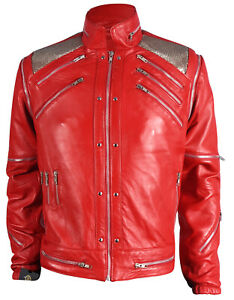 Michael Jackson Beat it Real Leather Jacket with Real Metal Mesh, Sizes  XXS-5XL