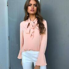 Ladies Chiffon Blouses Tops Women Long Flare Sleeve Blouse Clothing Shirts New