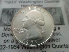 Daniel Carr 1933 Washington Quarter Overstrike High Grade 90% Silver - Rare!