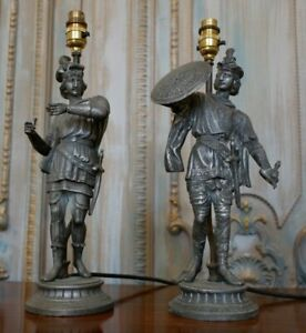 Pair of Antique FRENCH Metal GREY Army Soldier Men Figures Table Bedside Lamps