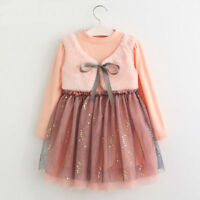 Girls Dress Long Sleeves Pink Winter Autumn Sequin Party Bolero Kids Clothes