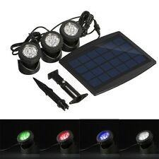 Solar Powered LED 3 RGB Lamp Spotlight Outdoor Garden Pool Pond Lawn Spot Light
