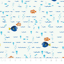 Finding Dory Swimming in White Disney Camelot 100% cotton fabric by the yard