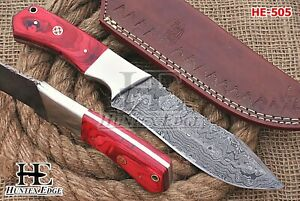 HUNTEX New Custom Handmade Damascus 250 mm Long Pakkawood Big Game Hunter Knife