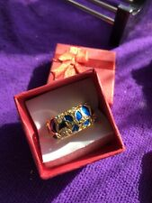 Tiny Gems Style Size P New In Gift Gold Coloured Metal Ring With Blue Enamel And