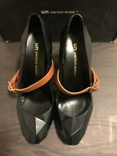 United Nude Lo Res Pump Black with Brown Leather Strap Size 36 New