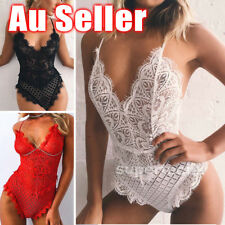 AU Women Leotard Deep V Neck Lace Bodysuit Stretch Tops Slim Bodycon Playsuit