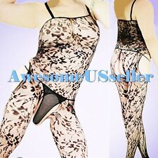 MEN XS-3XL Sexy PLUS SIZE suspender Fishnet CROTCHLESS Body Stocking Lingerie383