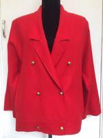 Womens Jaeger Genuine Vintage 80s Designer Oversize Red Wool Blazer Jacket 12/14