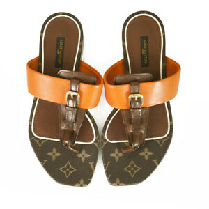 Louis Vuitton Brown Monogram Canvas Orange Leather Voyage Thong Sandals 37,5