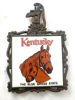 VINTAGE Cast Iron Trivet Ceramic Tile Kentucky The Blue Grass State,Horse