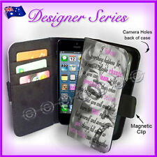 Apple iPhone 5C Wallet Card Flip PU Leather Marilyn Monroe Famous Quote 79