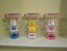 Solar Dancing Chick, blue bunny, pink bunny for spring Easter complete set of 3