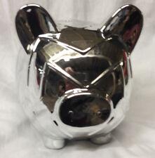 "ARGENTO SC SICURA CHROME CHEVRON PIGGY PIG BANK METAL 8"" TALL BY 8"" LONG MIRROR"