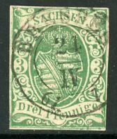 Germany States 1851 Saxony 3 Pf Scott #2 VFU E531