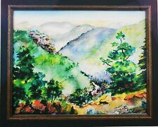 Gorgeous Hercel Stallard Giclee Print Watercolor Mountains River Beautiful Frame