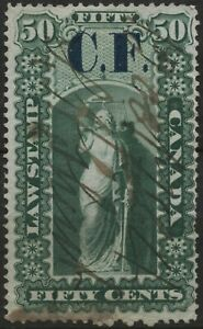 Canada VanDam #OL6 50c green Ontario Law (CF ovpt) (1864)