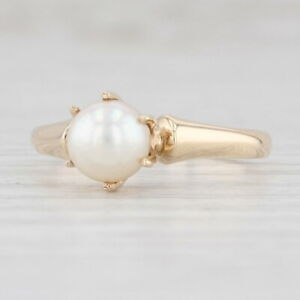 Vintage Saltwater Cultured Pearl Solitaire Ring 14k Yellow Gold Size 6