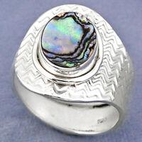 3.91cts Natural Abalone Paua Seashell 925 Silver Adjustable Ring Size 8.5 R63291