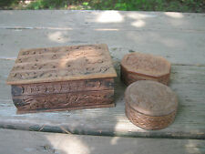 3 Decorative Wooden Trinket Boxes.. Made in India??..Small..Different Design