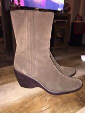 COLE HAAN Brown Leather Pull On Elastic Panel Wedge Heel Ankle Boots D22640 9 B