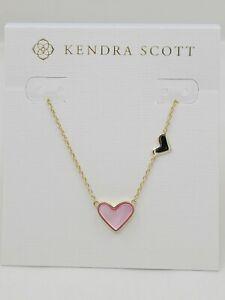 "NWT  Kendra Scott ""Ari"" Double Heart Gold Necklace in Blush Dye Tiff's Treats"