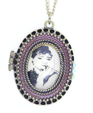 Vintage Retro style bronze Audrey Hepburn locket pendant necklace