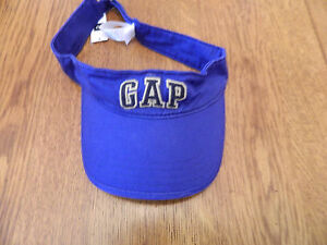 NWT GAP mens logo visor, brilliant blue, raised letters, 100% cotton size S/M