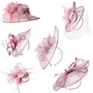 Dusty Pink Fascinator Wedding Race Royal Ascot Head Piece on Headband & Clip