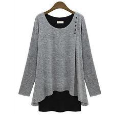 PLUS SIZE Women Asymmetry Hem Long Sleeve Blouse Loose Casual Tunic T-Shirt Tops