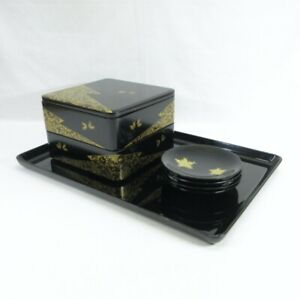 D0714: Japanese lacquer ware KASHIKI box and MEIMEI-ZARA plate with CHINKIN work