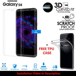 3D Curved Tempered Glass Screen Protector For Samsung Galaxy S8 + TPU Gel Case