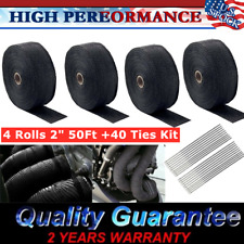 "4 Rolls x 2"" 50Ft Exhaust Manifold Header Black Pipe Heat Wrap Tape+40 Ties Kit"