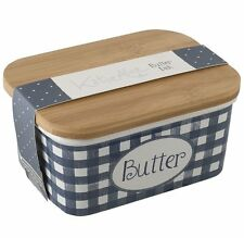 Katie Alice VINTAGE INDIGO BUTTER DISH Ceramic with Wood Lid Large BLUE White