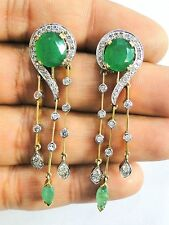 Victorian Diamond & Emerald 14k Gold Silver jewelry Earring Pair India