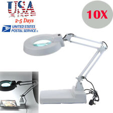 10X Desktop Loupes Glass Lens Diopter Desk Table Light LED Magnifier Lamp Light