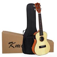 Kmise Ukulele Electric Acoustic Solid Spruce Concert Ukelele Uke 23 inch Gig Bag