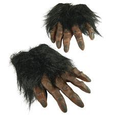 BROWN HAIRY HANDS APE WEREWOLF GLOVES FANCY DRESS